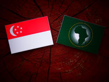 Η σιγκαπούριος σημαία με την αφρικανική σημαία ένωσης σε ένα κολόβωμα δέντρων απομονώνει Στοκ φωτογραφία με δικαίωμα ελεύθερης χρήσης