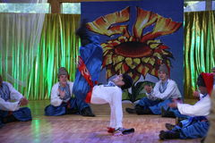 Η σκηνή Ð ¾ ν είναι χορευτές και τραγουδιστές, δράστες, μέλη χορωδιών, χορευτές corps de ballet, soloists του ουκρανικού συνόλου  Στοκ εικόνα με δικαίωμα ελεύθερης χρήσης