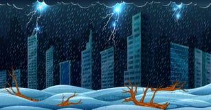Η σκηνή με τη καταιγίδα πέρα από το κτήριο και την πλημμύρα ελεύθερη απεικόνιση δικαιώματος