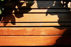 Η σκιά βγάζει φύλλα στο ξύλινο κάθισμα Στοκ Εικόνες