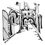 Η σκιαγράφηση μελανιού του ιστορικού στενού η οδός σε Budva διανυσματική απεικόνιση