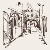 Η σκιαγράφηση μελανιού του ιστορικού στενού η οδός σε Budva Montene απεικόνιση αποθεμάτων