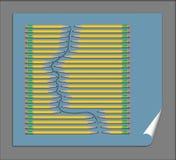 Η σκιαγράφηση μολυβιών αποτελεί το αντικείμενο αυτής της απεικόνισης που χαρακτηρίζει τα προσεκτικά ευθυγραμμισμένα μολύβια που α διανυσματική απεικόνιση