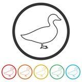 Η σκιαγραφία ενός εικονιδίου χήνων ή παπιών, 6 χρώματα συμπεριλαμβανόμενα Στοκ εικόνες με δικαίωμα ελεύθερης χρήσης