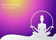 Η σκιαγραφία κοριτσιών meditate, λωτός θέτει ελεύθερη απεικόνιση δικαιώματος