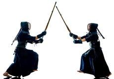 Η σκιαγραφία μαχητών πολεμικών τεχνών Kendo απομόνωσε το άσπρο bacground στοκ εικόνα