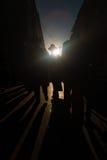 Η σκιαγραφία σκιάζει θιβετιανό Barkhor Lhasa Στοκ Φωτογραφίες