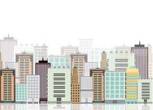 Η σκιαγραφία της πόλης σε ένα επίπεδο ύφος σύγχρονος αστικός τοπίων επίσης corel σύρετε το διάνυσμα απεικόνισης Στοκ Εικόνες