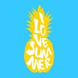 Η σκιαγραφία του ανανά και του κειμένου Ι καλοκαίρι αγάπης διάνυσμα απεικόνιση αποθεμάτων