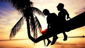 Η σκιαγραφία του νέου ευτυχούς πατέρα με την κόρη του κάθεται σε έναν φοίνικα κατά τη διάρκεια του όμορφου φωτεινού ηλιοβασιλέματ απόθεμα βίντεο