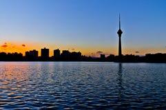Η σκιαγραφία του πύργου TV του Πεκίνου Στοκ φωτογραφία με δικαίωμα ελεύθερης χρήσης