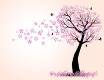 Η σκιαγραφία των δέντρων και της πεταλούδας κερασιών Στοκ εικόνες με δικαίωμα ελεύθερης χρήσης