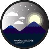 Η σκοτεινή νύχτα βουνών και φεγγαριών με το σύννεφο και το χιόνι, το επίπεδες διάνυσμα και η απεικόνιση περιβάλλουν το τοπίο Στοκ Εικόνες