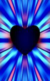 Η σκούρο μπλε καρδιά στη μέση αποκλίνει τα χρωματισμένα λωρίδες στις άκρες Για την ημέρα μητέρων, ημέρα βαλεντίνων Στοκ Εικόνα