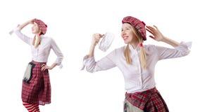 Η σκωτσέζικη έννοια παραδόσεων με το πρόσωπο που φορά τη σκωτσέζικη φούστα στοκ εικόνες