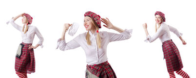 Η σκωτσέζικη έννοια παραδόσεων με το πρόσωπο που φορά τη σκωτσέζικη φούστα στοκ εικόνα με δικαίωμα ελεύθερης χρήσης