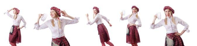 Η σκωτσέζικη έννοια παραδόσεων με το πρόσωπο που φορά τη σκωτσέζικη φούστα στοκ εικόνα