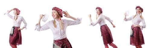 Η σκωτσέζικη έννοια παραδόσεων με το πρόσωπο που φορά τη σκωτσέζικη φούστα στοκ φωτογραφίες με δικαίωμα ελεύθερης χρήσης