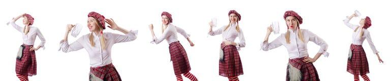 Η σκωτσέζικη έννοια παραδόσεων με το πρόσωπο που φορά τη σκωτσέζικη φούστα στοκ εικόνες με δικαίωμα ελεύθερης χρήσης