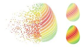 Η σκόνη διέστιξε το ημίτονο αφηρημένο αυγό με το διαγώνιο εικονίδιο λωρίδων Διανυσματική απεικόνιση