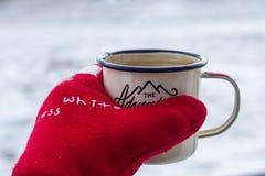Η σμαλτωμένη κούπα με το καυτό τσάι παραδίδει ένα κόκκινο θερμό γάντι το χειμώνα σε ένα χιονώδες υπόβαθρο Στοκ εικόνες με δικαίωμα ελεύθερης χρήσης
