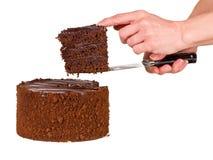 η σοκολάτα κέικ εξυπηρέτη& Στοκ Φωτογραφία