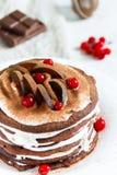 Η σοκολάτα Crepes με τα δαμάσκηνα και την κτυπημένη κρέμα Στοκ Εικόνες