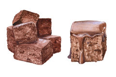 Η σοκολάτα cupcakes η διακοσμητική εικόνα απεικόνισης πετάγματος ραμφών το κομμάτι εγγράφου της καταπίνει το watercolor Στοκ φωτογραφίες με δικαίωμα ελεύθερης χρήσης