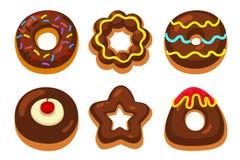 Η σοκολάτα donuts έθεσε Στοκ Φωτογραφία