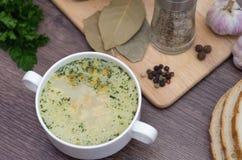 Η σούπα μανιταριών με croutons σε ένα άσπρο πιάτο είναι σε έναν ξύλινο πίνακα Στοκ φωτογραφίες με δικαίωμα ελεύθερης χρήσης