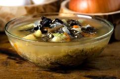 Η σούπα ξεφυτρώνει κουτάλι κύπελλων γυαλιού στοκ φωτογραφίες