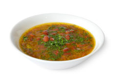Η σούπα φασολιών με το κρέας σε ένα λευκό απομόνωσε το υπόβαθρο Στοκ εικόνα με δικαίωμα ελεύθερης χρήσης