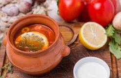 Η σούπα saltwort με διακοσμεί στο καφετί κεραμικό δοχείο στοκ εικόνα με δικαίωμα ελεύθερης χρήσης