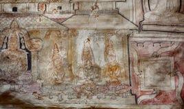 Η σπάνια ζωγραφική στο ανώτατο όριο με τους υπαλλήλους του Βούδα, 1$ος αιώνας ανασκάπτει Π.Χ. το ναό με τις νωπογραφίες Στοκ Εικόνες