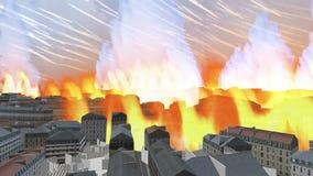 Η σπείρα λάβας αναρριχείται στην τρισδιάστατη πόλη scape απόθεμα βίντεο