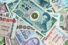 Η σπείρα της Ιαπωνίας στο υπόβαθρο τραπεζογραμματίων Στοκ Εικόνες
