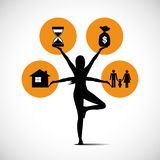 Η στάση γυναικών στη γιόγκα θέτουν και η εξισορρόπηση μεταξύ των χρημάτων οικογενειακού χρόνου και της εργασίας ελεύθερη απεικόνιση δικαιώματος