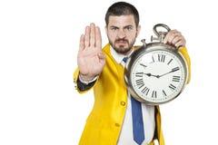 Η στάση, εσείς είναι αργά, παρουσιάζει ένας επιχειρηματίας Στοκ φωτογραφία με δικαίωμα ελεύθερης χρήσης