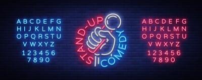 Η στάση κωμωδιών επάνω στην πρόσκληση είναι ένα σημάδι νέου Λογότυπο, φωτεινό ιπτάμενο εμβλημάτων, ελαφριά αφίσα, έμβλημα νέου, α απεικόνιση αποθεμάτων