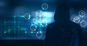 Η στάση χάκερ και προετοιμάζεται να επιτεθεί με τα εικονίδια εγκλήματος cyber επάνω απεικόνιση αποθεμάτων