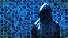 Η στάση χάκερ μπροστά από 01 ή οι δυαδικοί αριθμοί στη οθόνη υπολογιστή στη μήτρα υποβάθρου οργάνων ελέγχου, ψηφιακά στοιχεία κωδ ελεύθερη απεικόνιση δικαιώματος