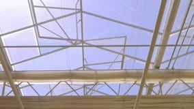 Η στέγη γυαλιού ενός μεγάλου θερμοκηπίου Η στέγη του σύγχρονου κτηρίου από το κατώτατο σημείο, η αυτόματη στέγη απόθεμα βίντεο