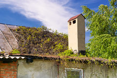 Η στέγη ενός του χωριού σπιτιού Στοκ εικόνες με δικαίωμα ελεύθερης χρήσης