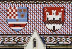 Η στέγη του ST χαρακτηρίζει την εκκλησία, Ζάγκρεμπ Στοκ Εικόνες