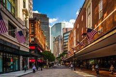 Η στο κέντρο της πόλης διασχίζοντας περιοχή αγορών στη Βοστώνη, Μασαχουσέτη Στοκ Φωτογραφία