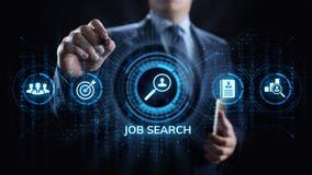 Η στρατολόγηση μίσθωσης αναζήτησης εργασίας στέλνει το βιογραφικό σημείωμα επαναλαμβάνει την επιχειρησιακή έννοια στοκ εικόνα