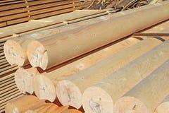 Η στρογγυλή βαθμολογημένη ράβδος οικοδόμησης από ένα δέντρο Στοκ Εικόνα