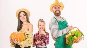 Η συγκομιδή καλαθιών κηπουρών οικογενειακών αγροτών απομόνωσε το άσπρο υπόβαθρο Αγρότες οικογενειακού αγροτικοί ύφους υπερήφανοι  στοκ φωτογραφίες με δικαίωμα ελεύθερης χρήσης
