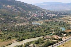 Η συγχώνευση δύο ποταμών Mtskheta, Γεωργία Στοκ εικόνα με δικαίωμα ελεύθερης χρήσης