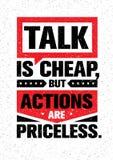 Η συζήτηση είναι φτηνή, αλλά οι ενέργειες είναι ανεκτίμητες Ενθαρρυντικό δημιουργικό απόσπασμα κινήτρου Διανυσματική έννοια σχεδί ελεύθερη απεικόνιση δικαιώματος